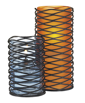 Orange Frost Glass Cylinder Wire Base Candle Holder