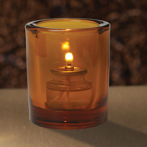 Clear Amber Glass Candle Holder