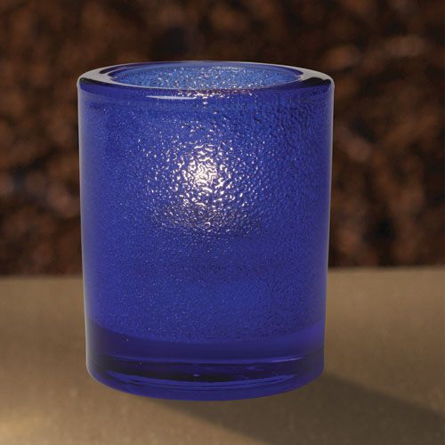 Blue Frosted Bubble Glass Candleholder