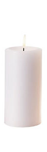 "Box of 12 Unscented Pillar Candles, 3"" x 3"" White Wax Candle"