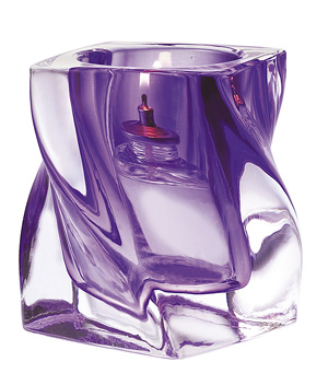 Purple Crystal Twist Glass Candle Holder
