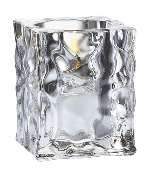 Clear Crystal Ice Cube Candle Holder