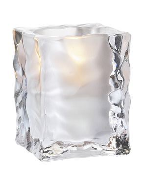 Frosted Ice Cube Candle Holder