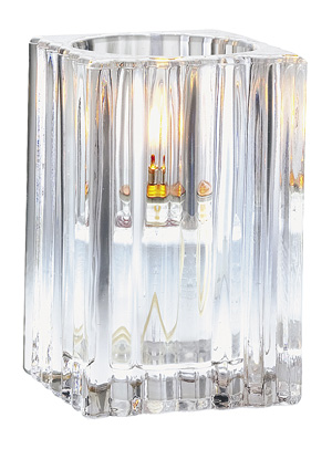 Ribbed Clear Square Glass Candle Holder