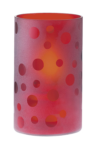 Red Frosted Glass Cylinder