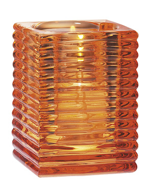 Ribbed Orange Glass Candle Holder