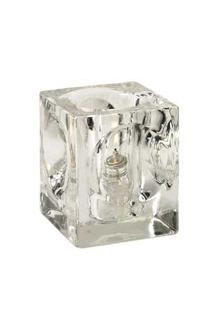 "Crystal Clear Glass Candle Holder 3.5"" tall"