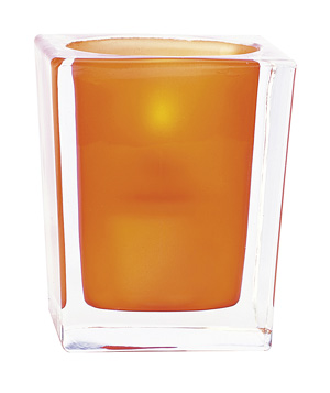 Optic Orange Illusion Glass Candle Holder