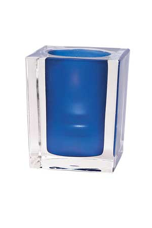 Optic Blue Illusion Glass Candle Holder